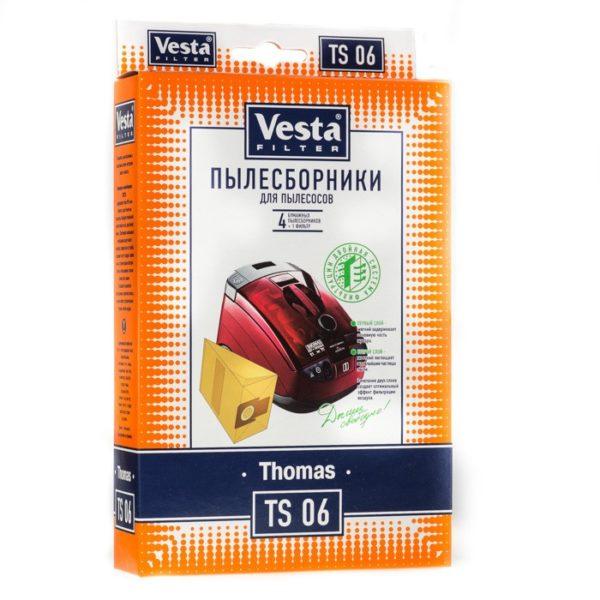 Мешок пылесоса одноразовый Thomas, Bosch упаковка 4 шт+1фильтр Веста TS06