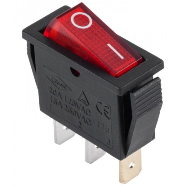 Кнопка клавишная КСД8 15А 250V 3 контакта 14x30mm 2 положения