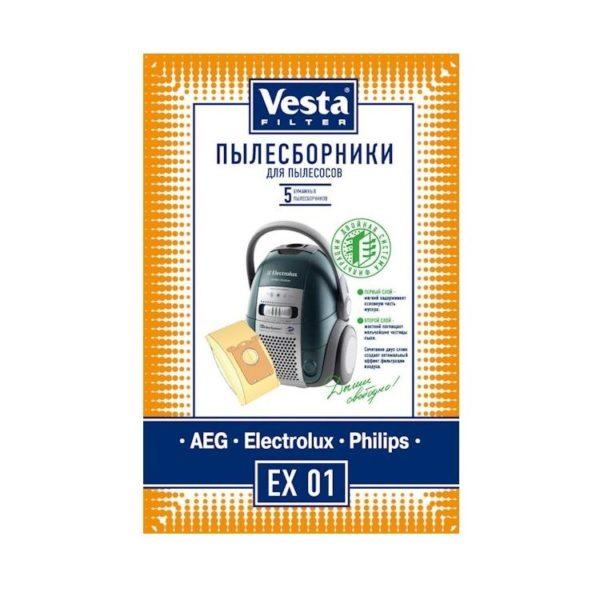 Мешок пылесоса нетканый одноразовый Electrolux, AEG, Philips упаковка 4 шт + 2 фильтра Веста EX01S